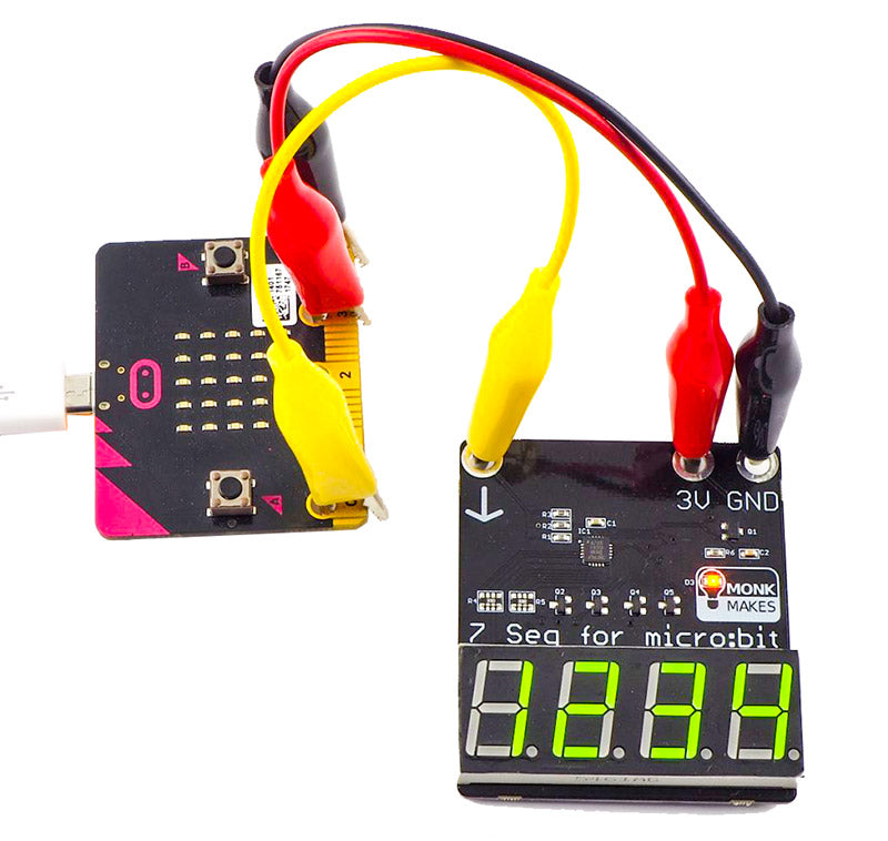 additional 7 segment display microbit monk makes time