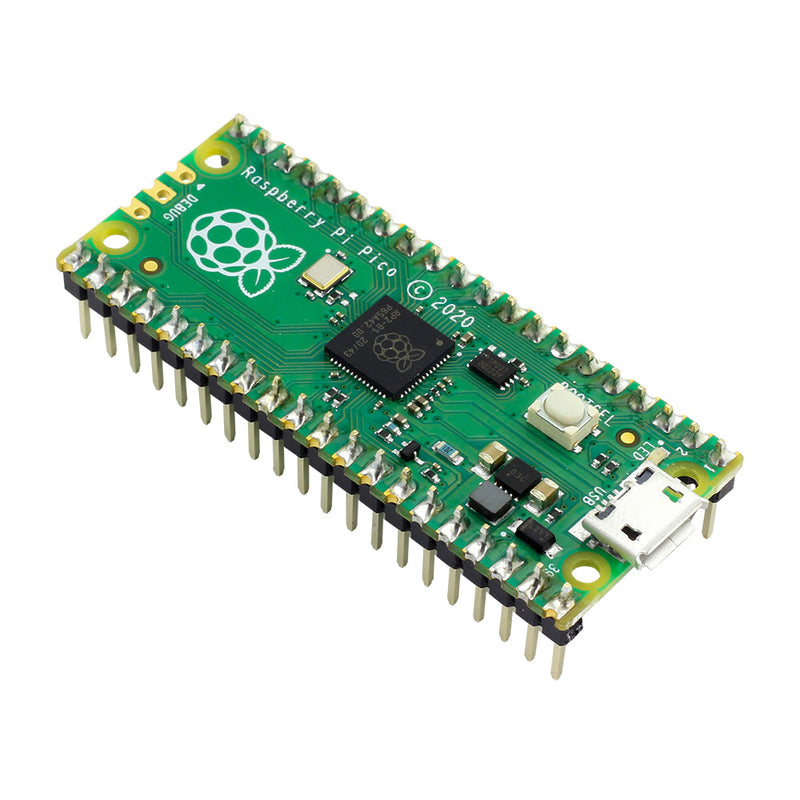 Rapsberry Pi Pico with Pin Headers - Assembled front