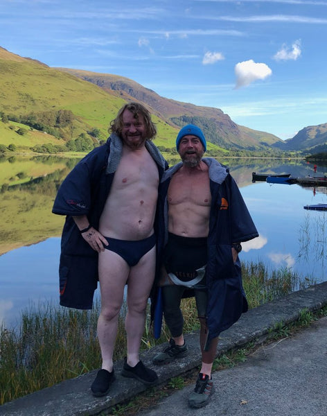 Matthew and Sam in their Selkie suits and skins