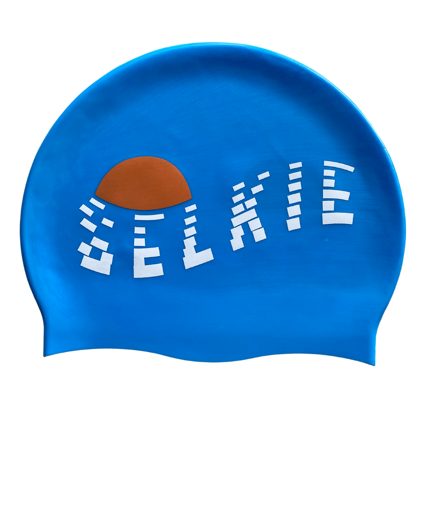 SWIM CAP - DISTRESSED LOGO BLUE - swim cap