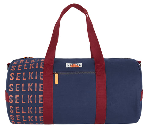 CANVAS BARREL BAG - NAVY with Logo