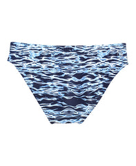MEN'S CLASSIC SWIM BRIEF - NAVY RIPPLE PRINT - swim trunks