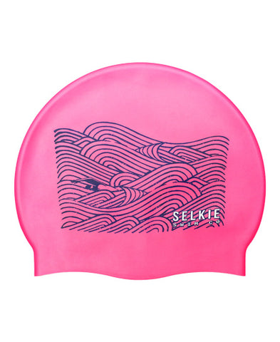 SWIM CAP - WAVES & SWIMMER GRAPHIC