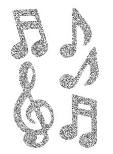 Pegable Music Note Glitter Stickers