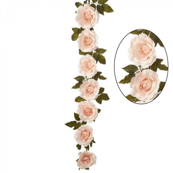"74"" Blush Artificial Rose Cane Garland"