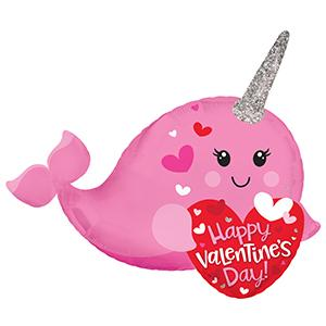 "14"" Happy Valentine's Day Narwhal Airfill"