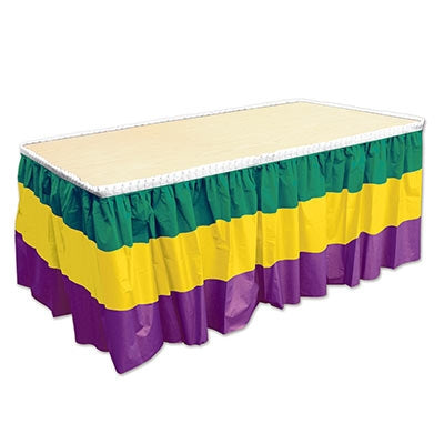 Mardi Gras Plastic Table Skirt