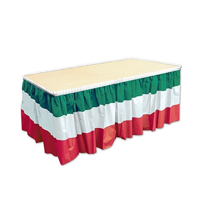 Red, White & Green Plastic Table Skirt