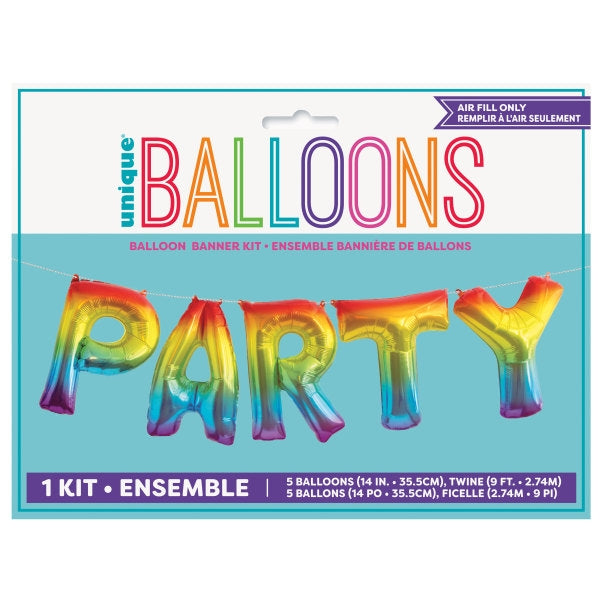 "14"" Rainbow Foil Banner ""Party"" Kit"