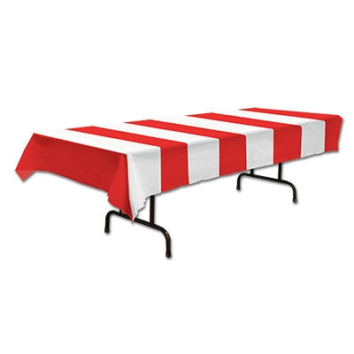 Red & White Stipes Plastic Rectangular Tablecover