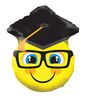 "18"" Smiley With Grad Cap Shape"