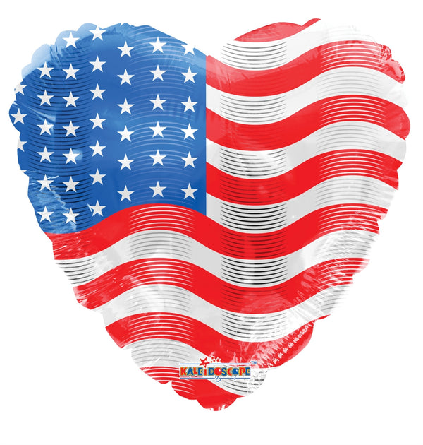 "18"" USA Flag On Heart"