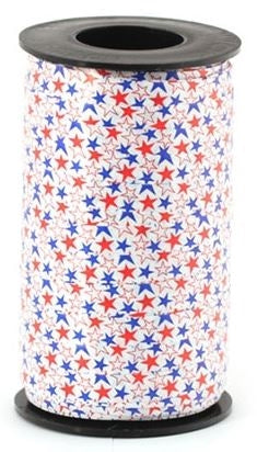 "3/8"" Patriotic Stars Curling Ribbon Primary"