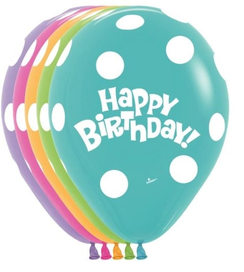 "11"" Polka Dot Birthday Assortment"