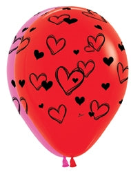 "11"" Heart Scribbles Latex Balloon Assortment"