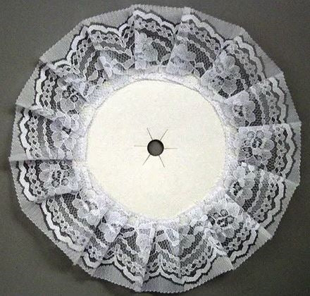 Paper Disc Mum Backer With Lace - Round White