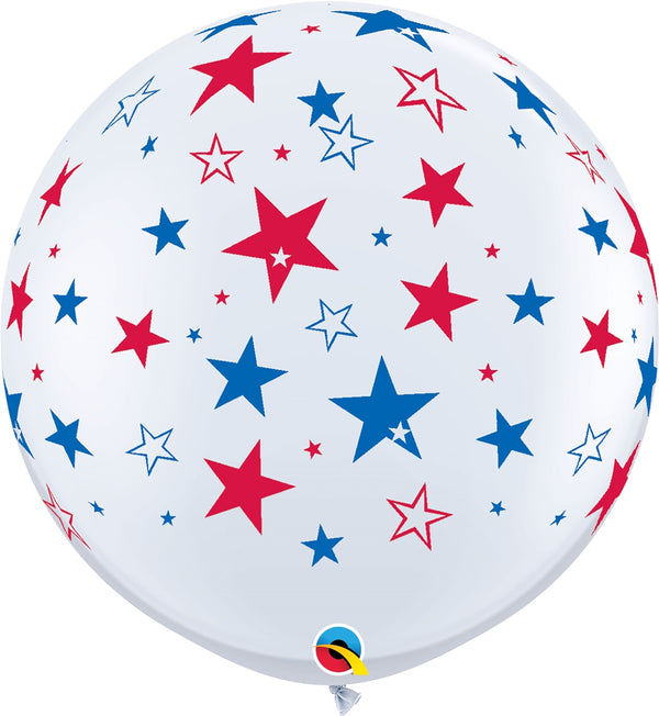 "36"" Red & Blue Stars Latex Balloons"