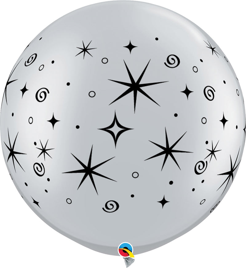 "30"" Silver Sparkles & Swirls Latex Balloon"
