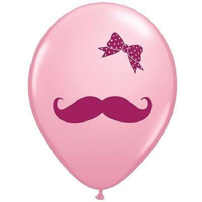 "11"" Mustache & Ribbon Latex Balloon"