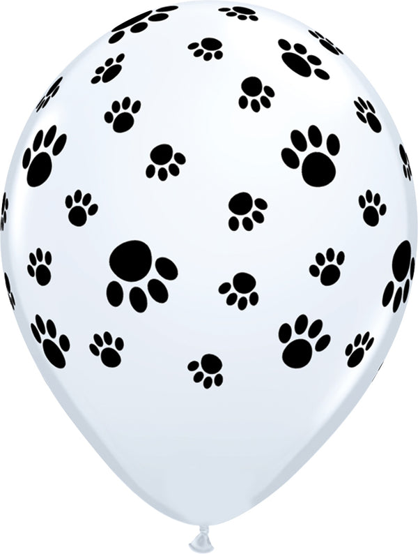 "11"" Paw Prints-A-Round Latex Balloons"