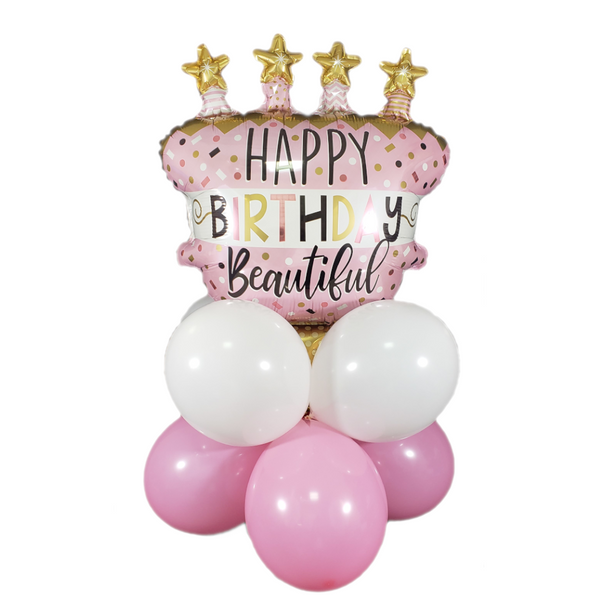 Rose Gold Birthday Cake Balloon Kit