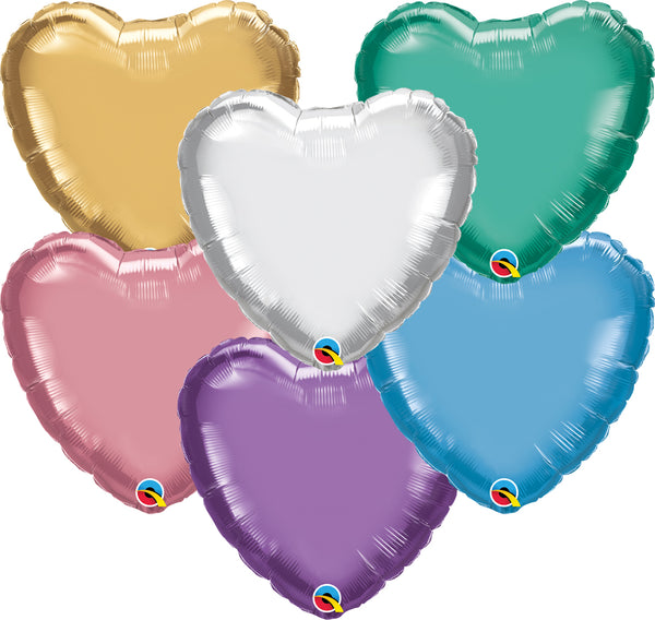 "18"" Qualatex Chrome Heart Foil Balloons"