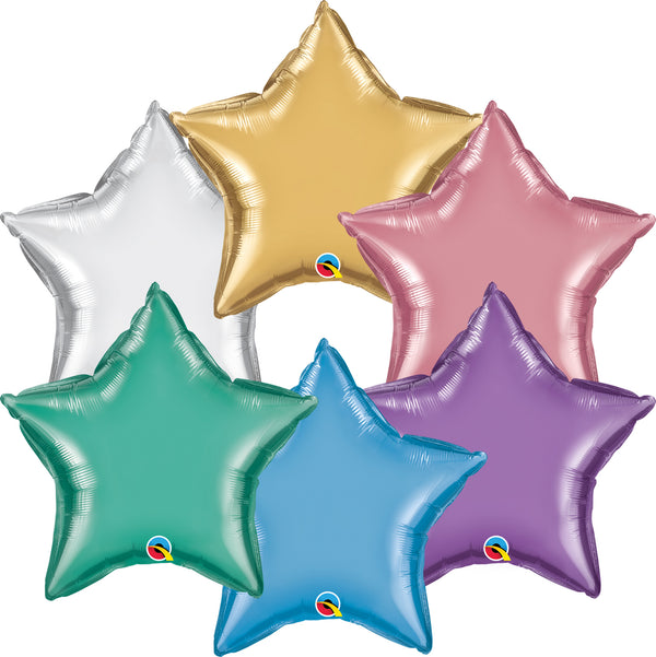 "20"" Qualatex Chrome Star Foil Balloons"