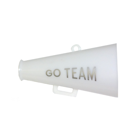 2.5″ White/Silver Go Team Megaphone 3 ct.