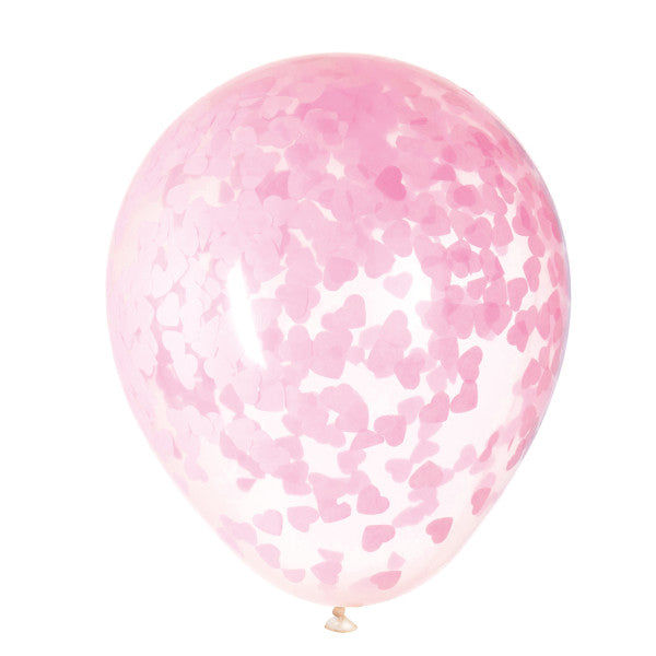 "16"" Clear Latex Balloons with Pink Heart Confetti"