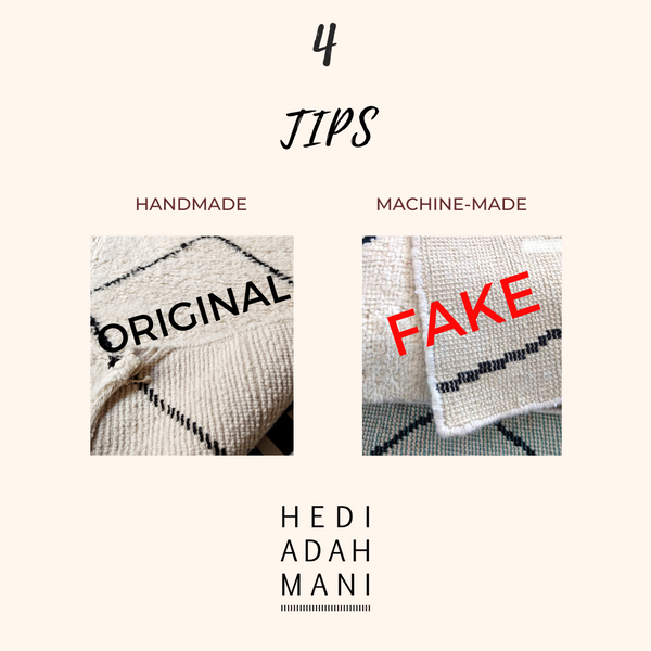 4 simple tips how you can distinguish a handknotted Beni Ourain rug from a FAKE Beni Ourain copy