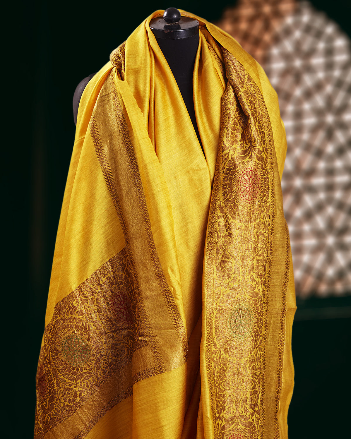 Vaijayanti Yellow Silk Matka Saree