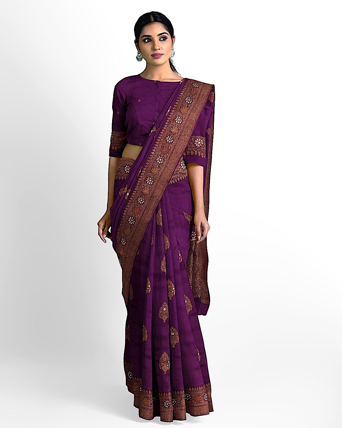 Magenta Purple Matka Georgette Saree