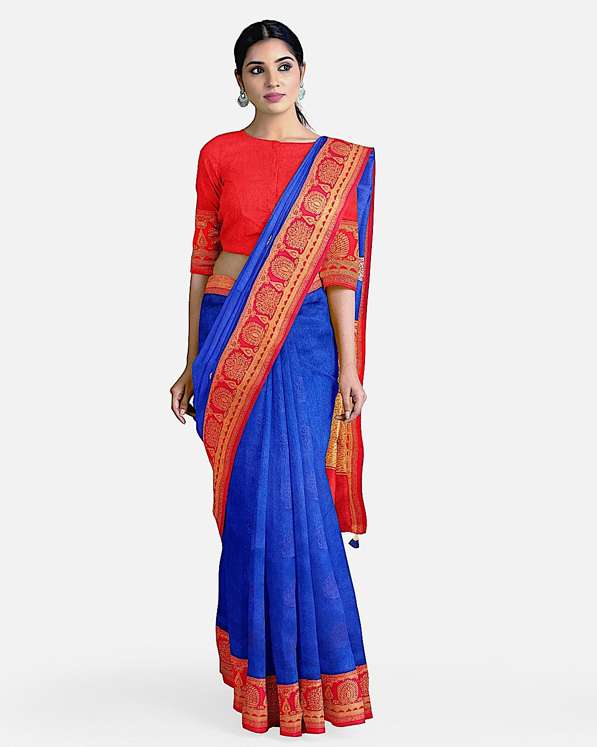 Blue and red dupion silk
