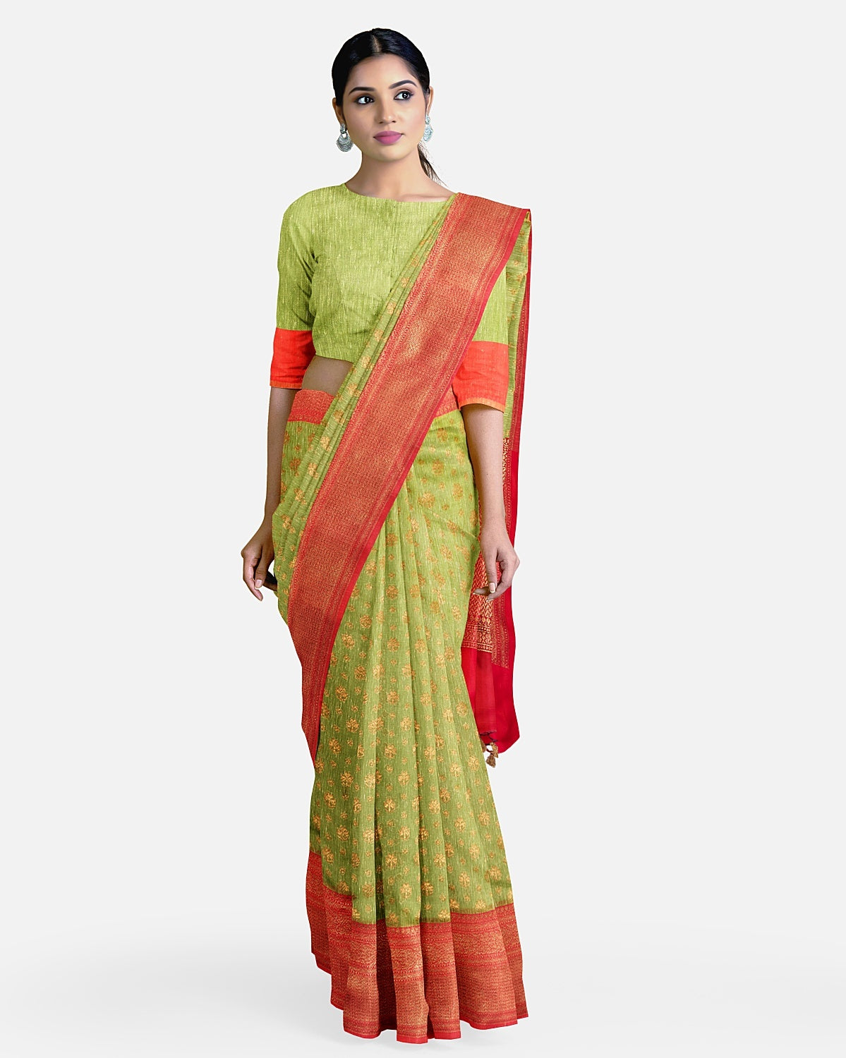 Leaf green and red khadi linen