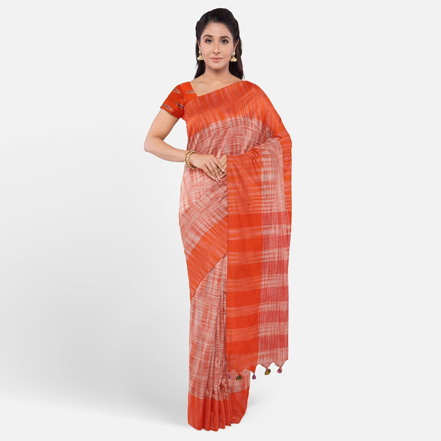 Orange Gamcha Cotton Saree