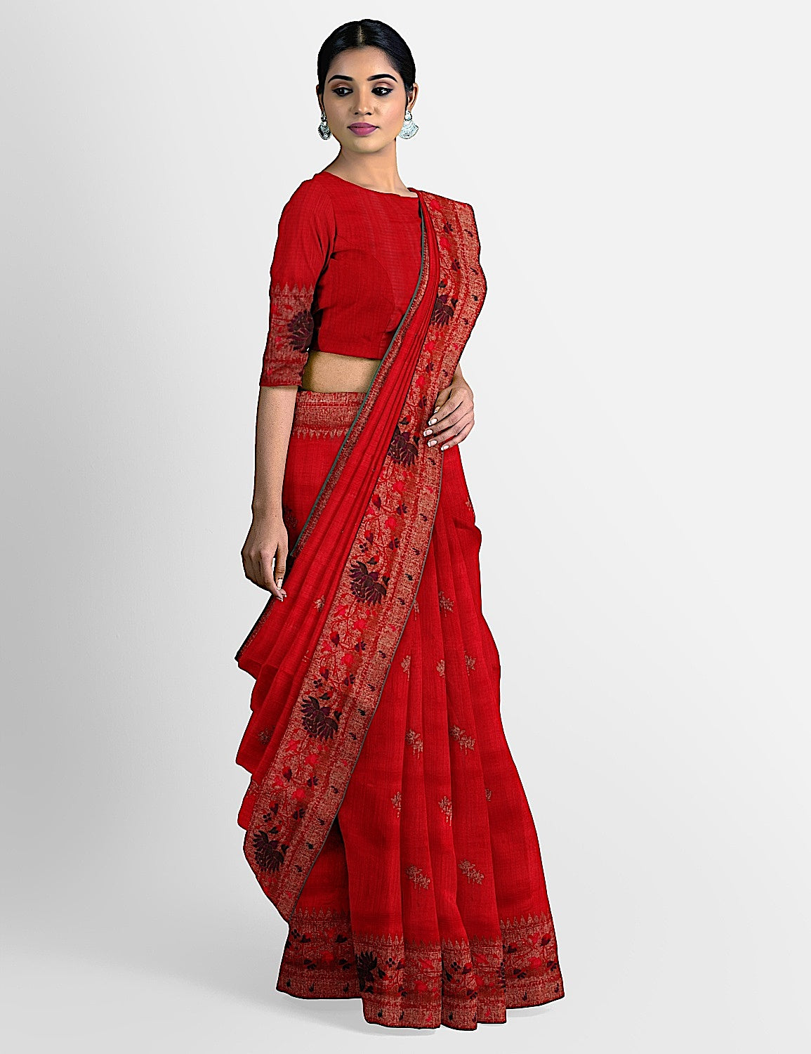 Red Lotus Border Saree