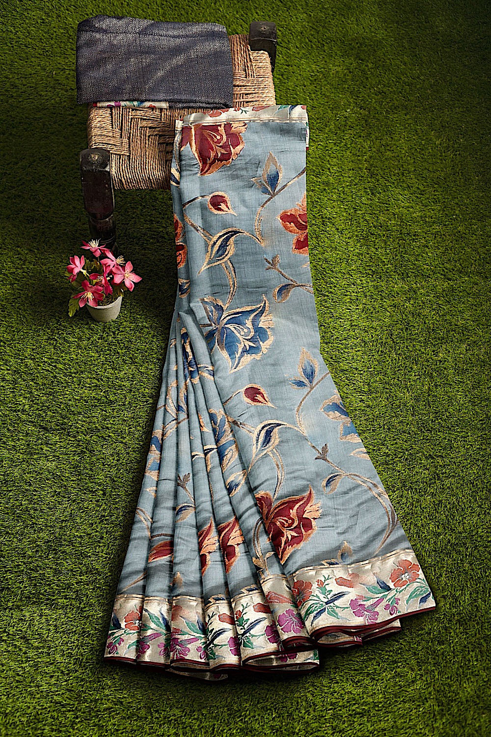 Greyish Blue Dupion Silk Saree