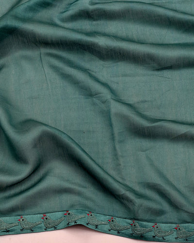 Krishna Turquoise Lotus Print Embroidered Saree