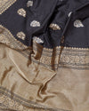 Ebony Black & Gold Silk Saree