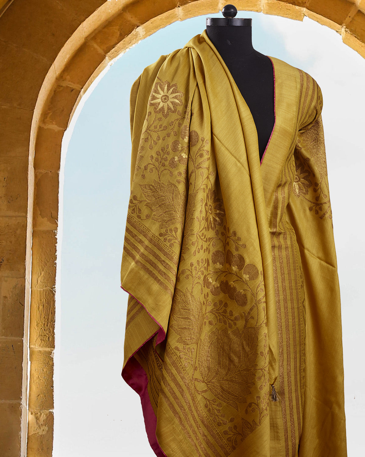 Wild Flower Yellow Silk Matka Saree