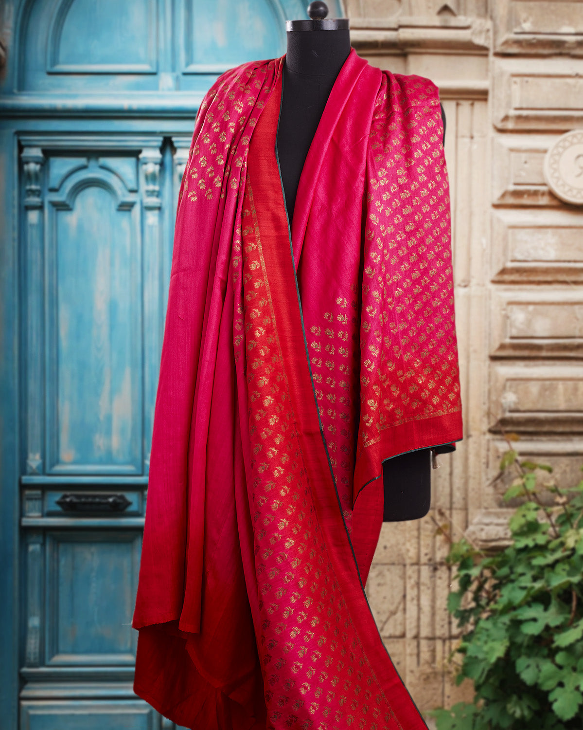 Menaka Red & Pink Matka Georgette Saree