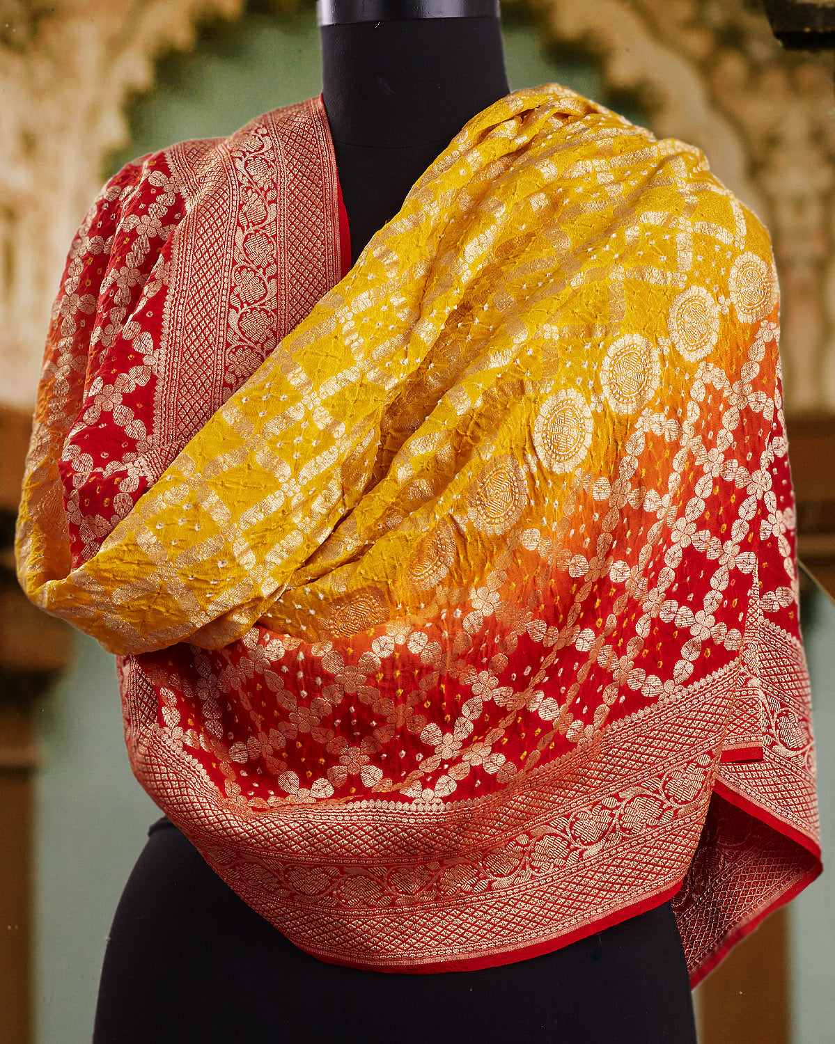 Red & Yellow Bandhani Shaded Dupatta