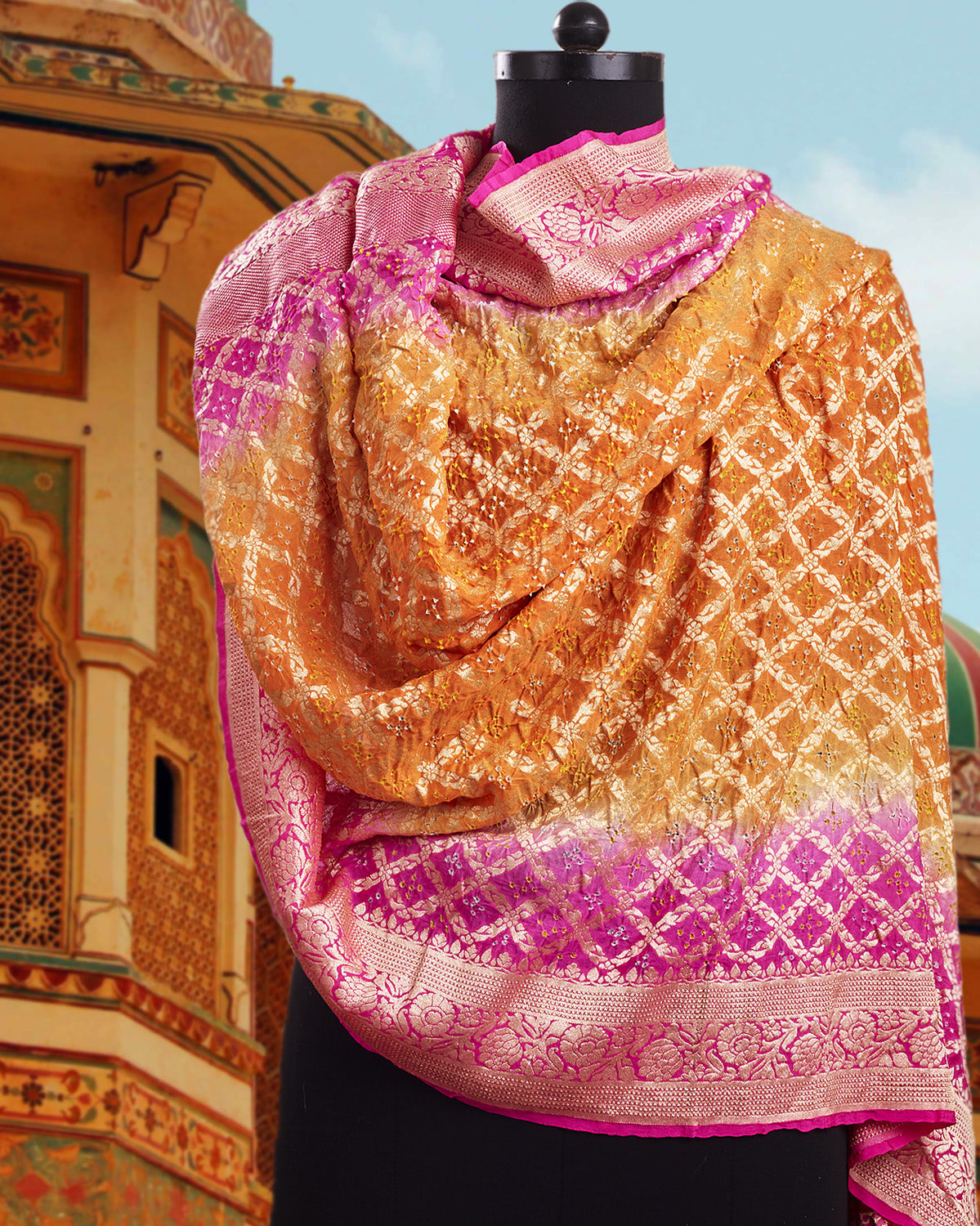Pink & Orange Bandhani Shaded Dupatta