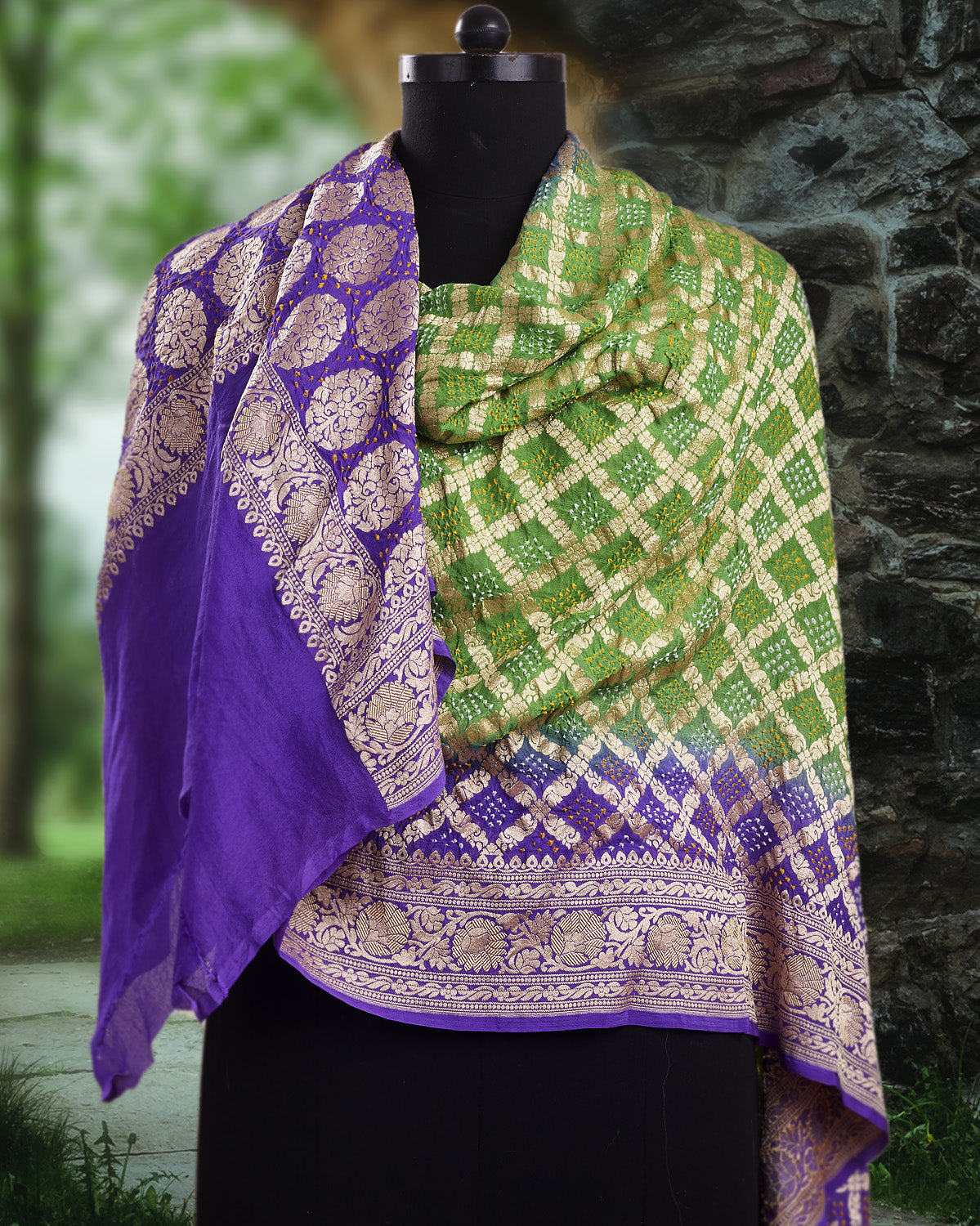 Purple & Green Bandhani Shaded Dupatta