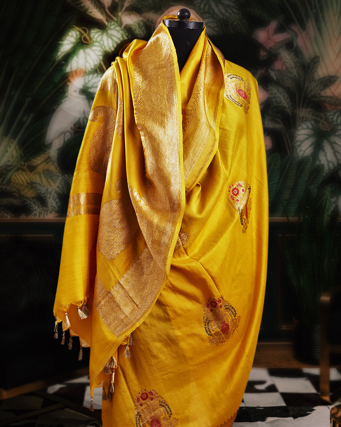 Guldaan Yellow Soft Silk Saree