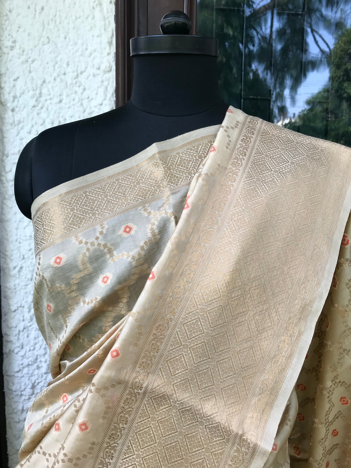 Gold Bandhini Light Silk Saree