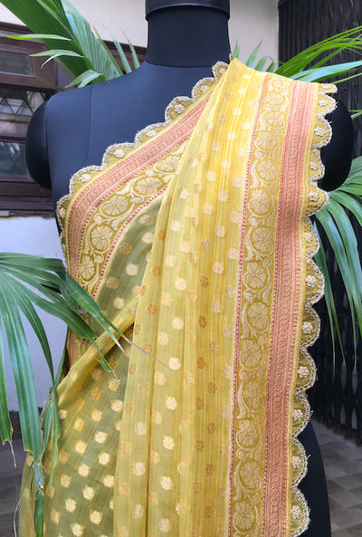 Swarna Yellow Scalloped Chiffon Sari