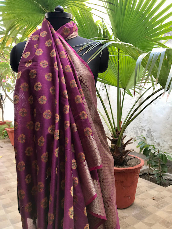 Ooda Purple Cotton Saree