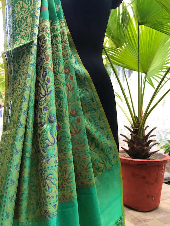 Shadaab Green Cotton Paithani Saree