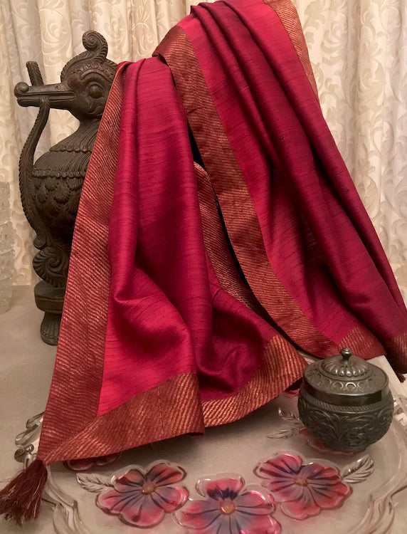 Burgundy Silk Matka Self Textured Dupatta